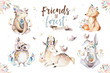 Leinwandbild Motiv Cute watercolor bohemian baby cartoon rabbit and bear animal for kindergarten, woodland deer, fox and owl nursery isolated bunny forest illustration for children. Bunnies animals.