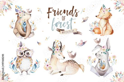 sliczny-akwareli-bohemian-dziecko-kreskowki-krolik-i-niedzwiadkowy-zwierze-dla-dziecina-lasu-jelenia-lisa-i-sowy-pepiniera-odizolowywajacego-krolika-lasowego-ilustraci-dla-dzieci-kroliki-zwierzat