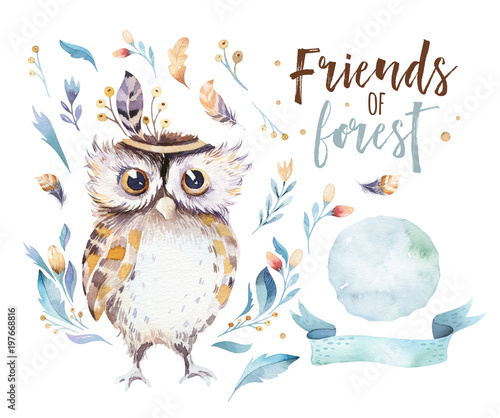 Canvas Prints Owls cartoon Cute bohemian baby owl animal for kindergarten, woodland nursery isolated decoration forest owls illustration for children forest animals pattern. Watercolor hand drawn boho set