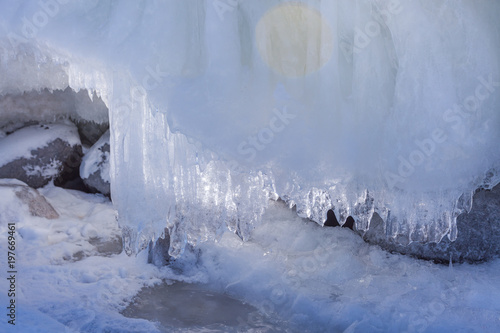 Printed kitchen splashbacks Glaciers Icy snowdrift on the shore of the winter lake