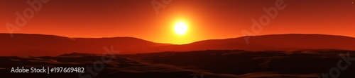 Photo sur Toile Rouge mauve sunset over the hills, the sun over the silhouettes of the mountains 3D rendering