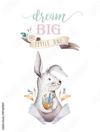 Cute Bohemian Baby Cartoon Rabbit Animal For Kindergarten Woodland Nursery Isolated Bunny Forest Illustration