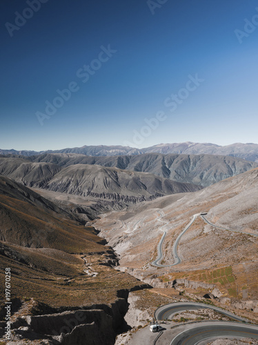 Fotobehang Grijs Scenic view of landscape against clear blue sky during sunny day