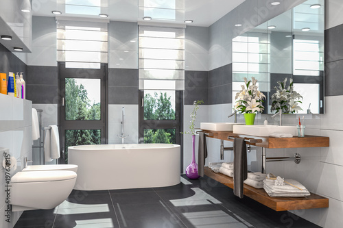 Modernes Badezimmer in weiß und schwarz mit Badewanne, WC ...