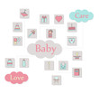 Big square web icon set. Baby, toy, feed and care colorful ready to use isolated icons on white background.