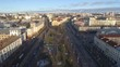 Minsk aerial drone shot autumn of the city center view from above attraction recreation