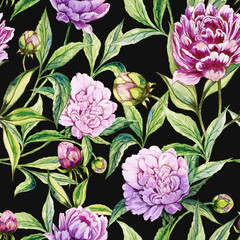FototapetaBeautiful purple peony flowers with green leaves on black background. Seamless floral pattern. Watercolor painting. Hand drawn illustration.