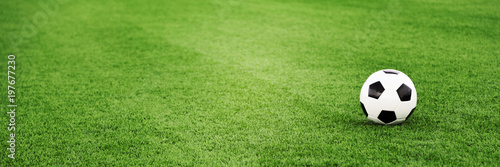 plakat Traditional soccer ball on grass field