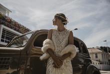 Woman Wearing Flapper Dress