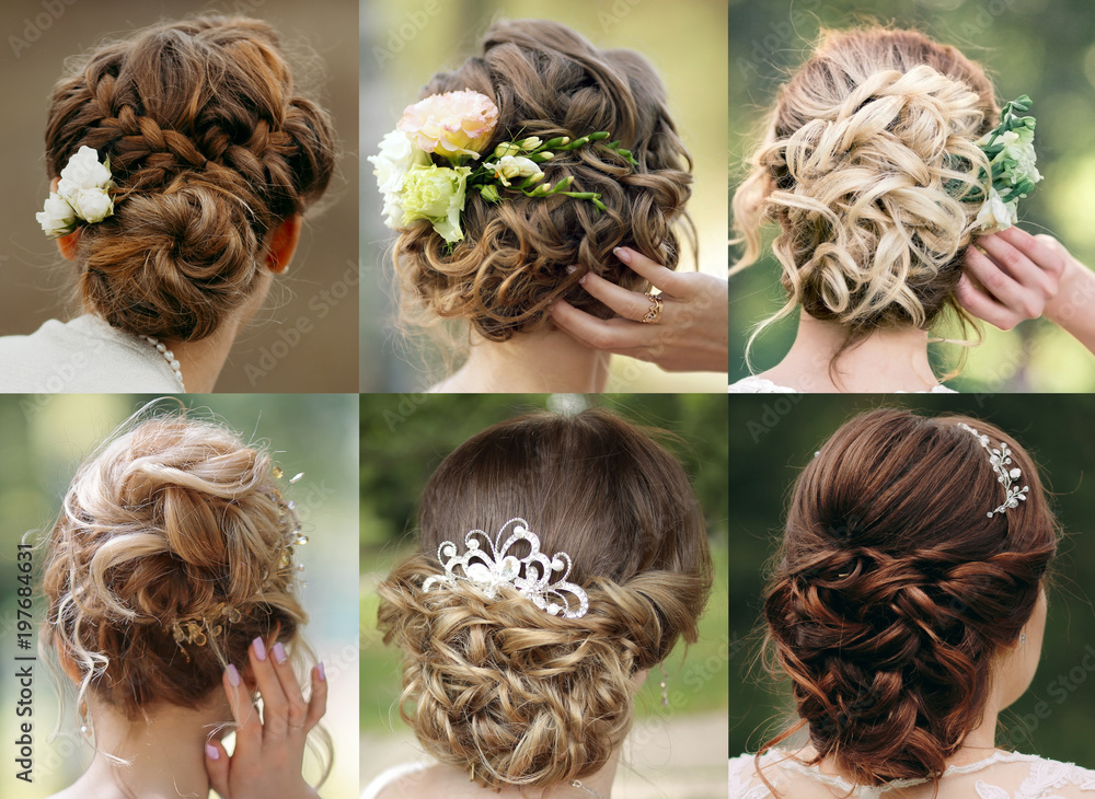 Fototapeta Collection of wedding hairstyles