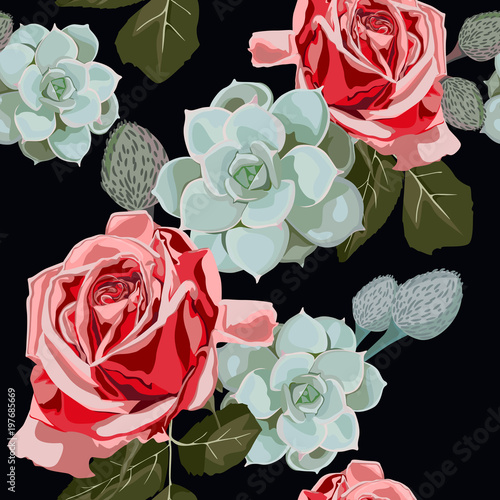 Watercolor succulents and red roses seamless pattern. Vintage wallpaper with rose hip and succulents on black background. Floral texture for design, textile and background. © Iuliia