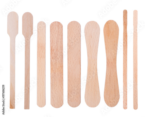 Fotografia Wooden ice-cream sticks isolated on white background