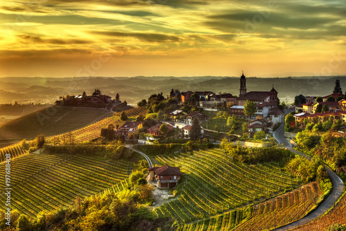 he land of wines – Treiso -- The village of Treiso, in the Langhe (Piedmont, Italy), in the limited production area of the prestigious Barbaresco wine Wallpaper Mural