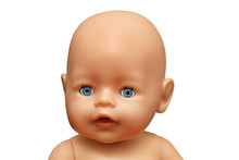 Cute Little Plastic Baby Doll With Blue Eyes