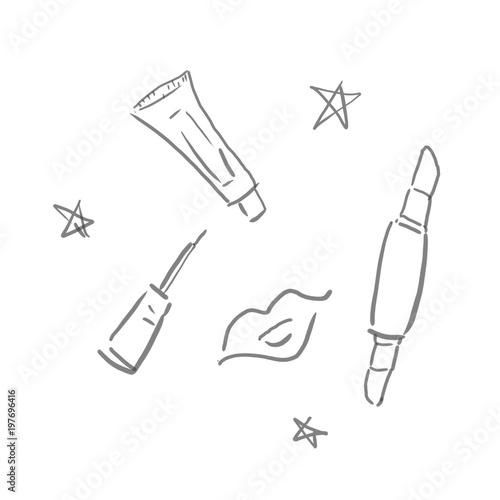 メイクアップ化粧道具などの線画下絵ラフ塗り絵ゆるいイラスト