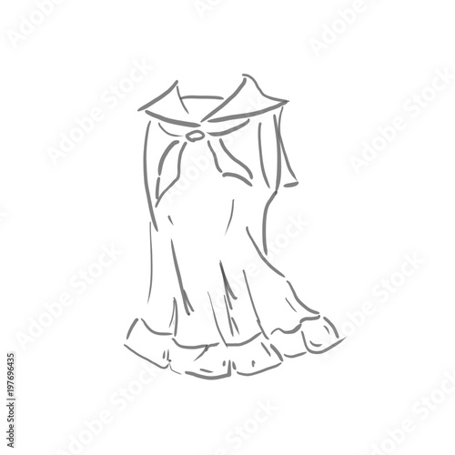 ワンピースファッションの線画下絵ラフ塗り絵ゆるいイラスト
