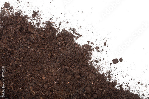 Fotografie, Obraz  Pile heap of soil isolated on white background with copy space for your text