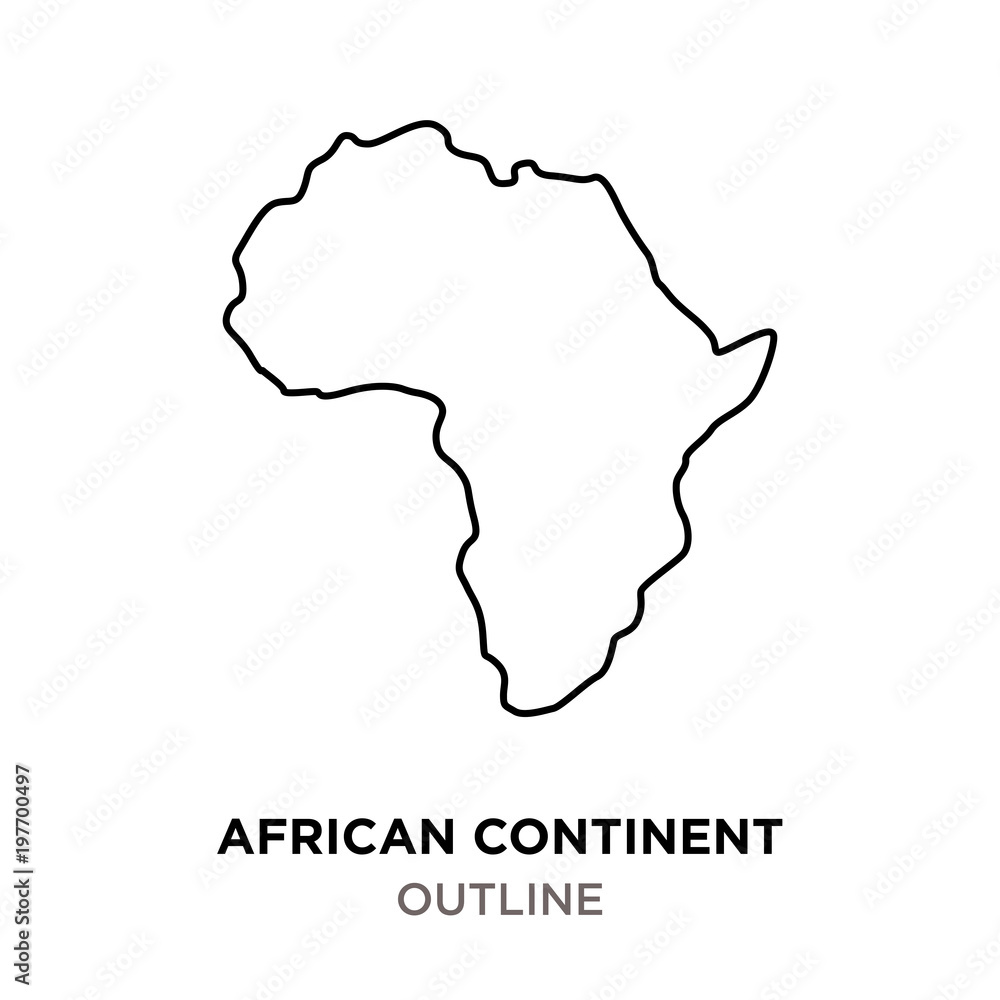 Fototapety, obrazy: african continent outline on white background