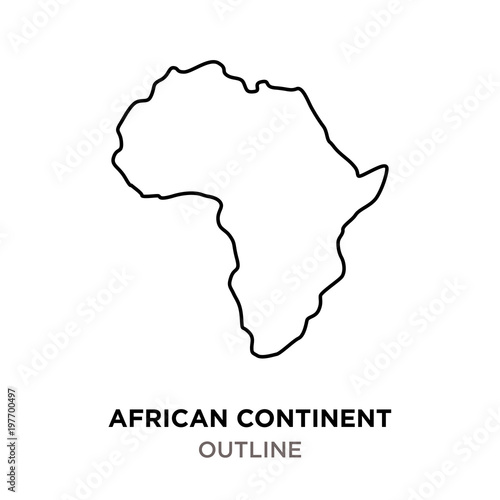 Photo  african continent outline on white background