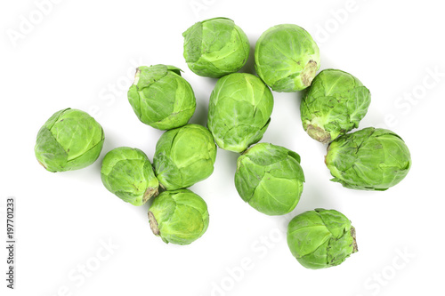 Recess Fitting Brussels Brussels sprouts isolated on white background closeup. Top view. Flat lay