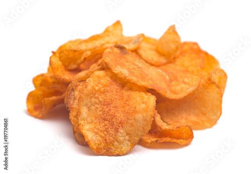 Fotografie, Obraz  BBQ Kettle Potato Chips on a White Background