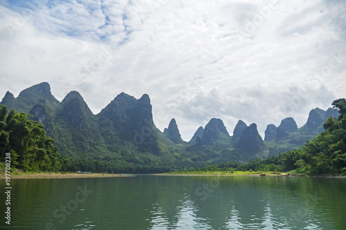 Foto op Canvas Guilin Navigate on Li River, Karst Mountains, Guilin Sugarloaf, XingPing, China