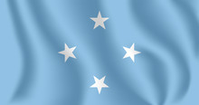Flag Of Micronesia. Realistic Waving Flag Of Federated States Of Micronesia (FSM). Fabric Textured Flowing Flag Of Federated States Of Micronesia.
