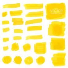 Watercolor Brush Stroke, Set Of Watercolor Vector Brush Stroke For Design, Yellow Watercolor Vector, Hand Drawn Watercolor Vector Brush Stroke