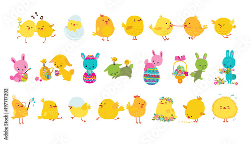 Fotografía Set of easter bunnies, chicks and eggs isolated icons on white background