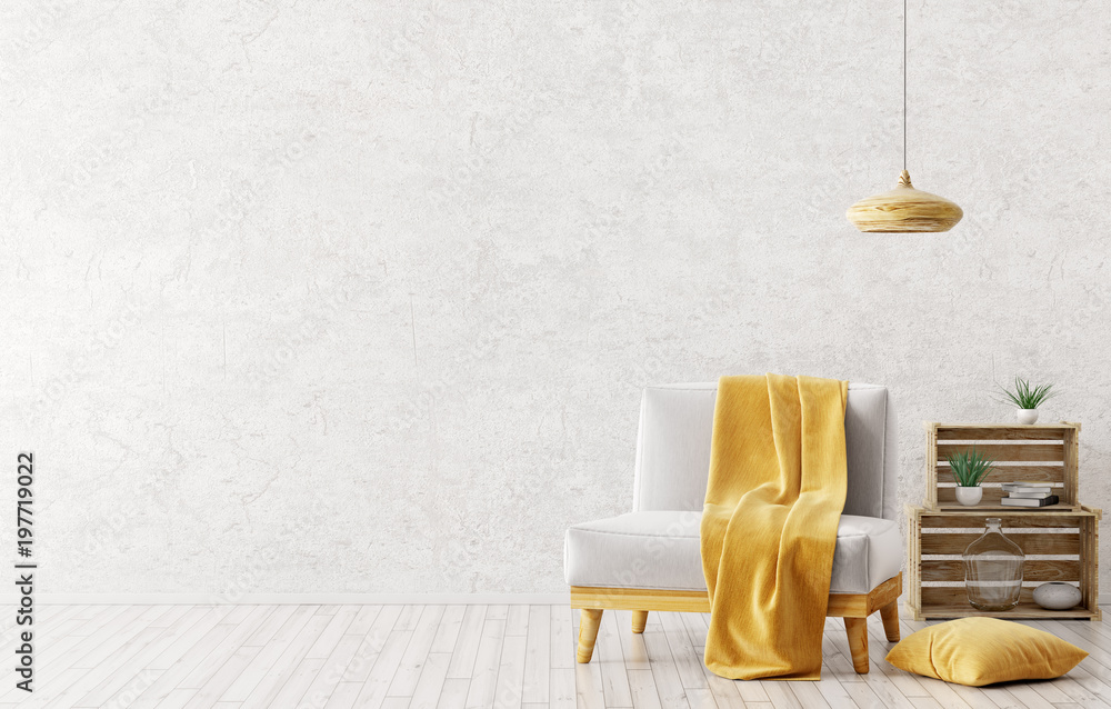 Fototapety, obrazy: Interior of living room with armchair 3d rendering