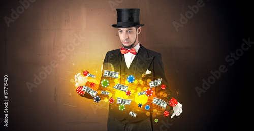 Illusionist conjure with his hand gambling staffs плакат