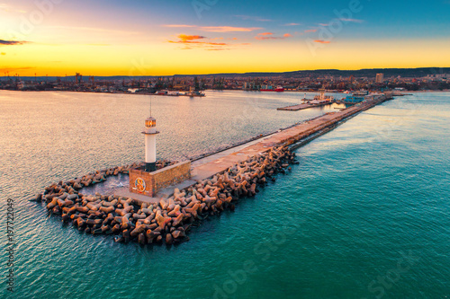 Poster Melon Aerial view of lighthouse at sunset in Varna, Bulgaria
