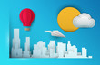 3d vector paper cut skyscrapers with airplane, balloon and cloud. Cartoon art illustration in minimalistic craft carving style. Modern layout colorful concept for background cover, poster, card.