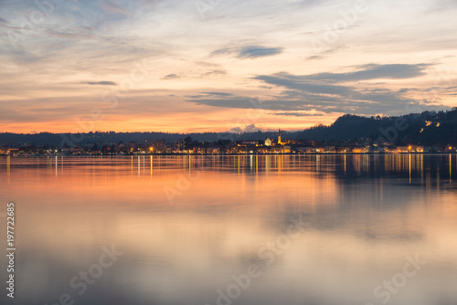 Vászonkép Lake Maggiore, colorful sky at sunset, northern Italy