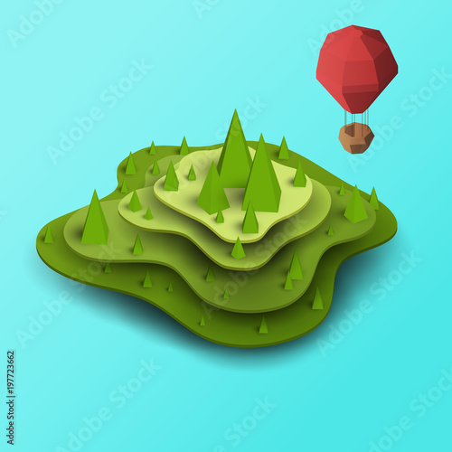 Poster Turquoise 3d vector paper cut green island, hill or mountain with balloon. Cartoon art illustration in minimalistic craft carving style. Modern layout colorful concept in isometric view for games or mars.