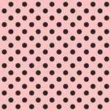 Seamless polka dot pattern. Black dots on pink background. Vector illustration. - 197725682