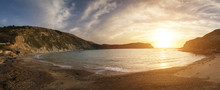 Beautiful Sunrise Panorama Landscape Over Lulworth Cove In Dorset