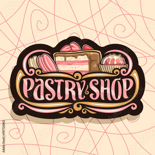 Fotografie, Obraz  Vector logo for Pastry Shop, black signboard with pink french macarons, slice of