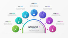 Circle Chart Template With 7 Options. Vector Design For Infograp