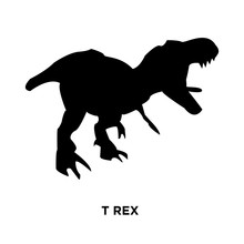 T Rex Silhouette On White Background, Vector Illustration