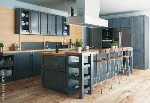 Cucina moderna, design minimal in legno con parquet,con ...
