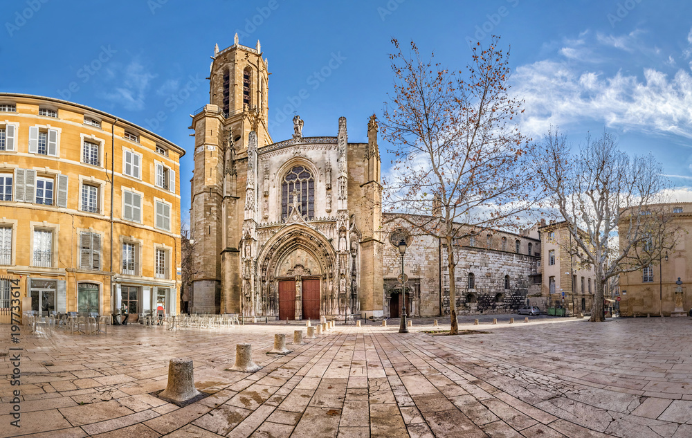 Fototapety, obrazy: The Cathedral of the Holy Saviour in Aix-en-Provence, Bouches-du-Rhone, France