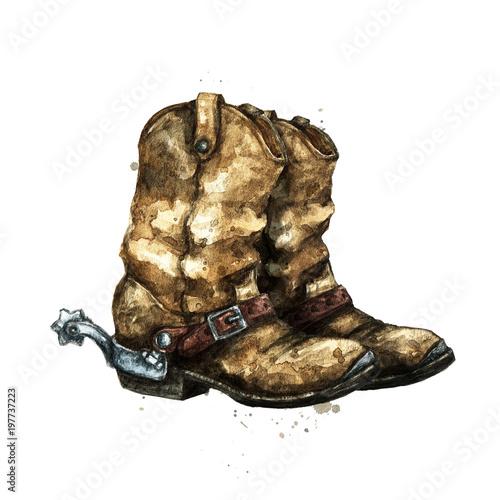 Recess Fitting Watercolor Illustrations Pair of Cowboy Boots. Watercolor Illustration.