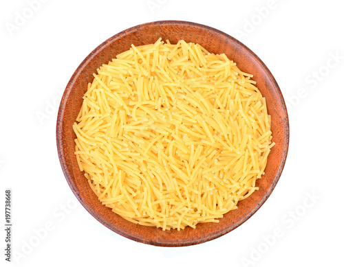 Fotomural Vermicelli in a wooden bowl  on a white background