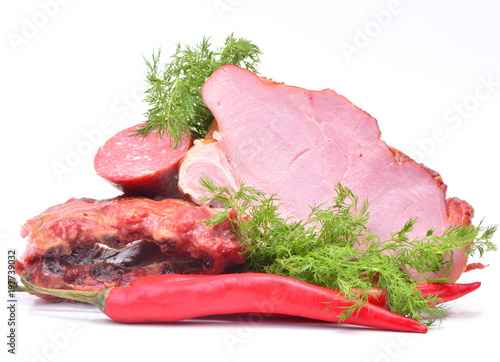 Staande foto Vlees Fresh smoked meat with spices