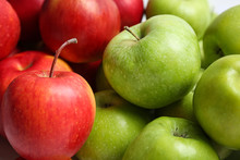 Fresh Green And Red Apples, Closeup