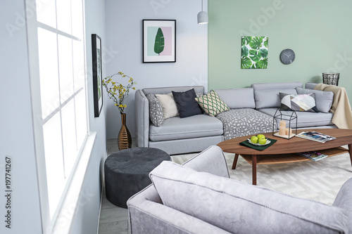 Stylish Living Room Interior With Comfortable Sofa And Table Cool Stylish Living Room