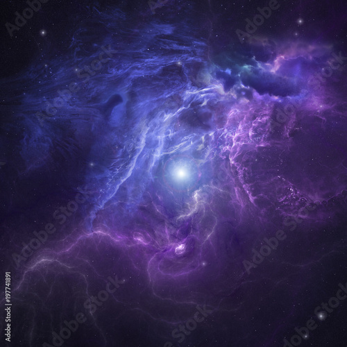 Star deep space scene with nebula as futuristic background