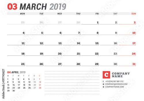 Calendar template for march 2019 business planner stationery calendar template for march 2019 business planner stationery design week starts on monday maxwellsz