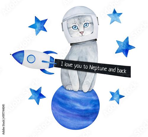 """Gwiazdy, statek kosmiczny, kociak w hełmie astronautów, planeta galaktyki, nocne niebo i wiadomość tekstowa: """"Kocham cię do Neptuna iz powrotem"""". Pocztówka """"Myślenie o tobie"""". Ręcznie rysowane farby kolor wody na białym tle."""